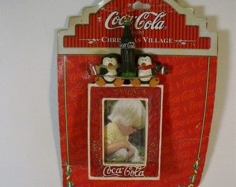Vintage Coke Coca-Cola picture photo frame hanging ornament Christmas tree holiday