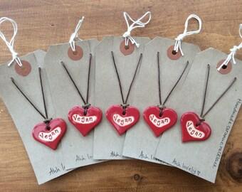 Vegan heart necklace, beautiful handmade ceramic gift