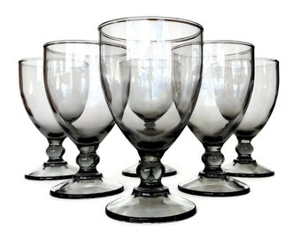 Smokey Glass Wine Glasses, Water Glasses, Ball Stemware, Set of Six