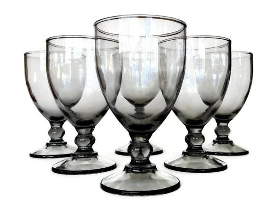 Smokey Glass Wine Glasses, Water Glasses, Ball Stemware, Set of Six