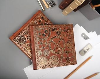 "Sketchbook ""Mechanical Garden"" genuine leather hardcover kraft paper"