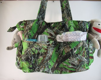 Lime Green  Camo Diaper Bag