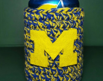 Crochet Can Cozy // Univeristy of Michigan // U of M // Ready To Ship