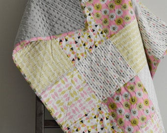 ORGANIC Cotton Lime Green and Pink Cloud 9 Quilt