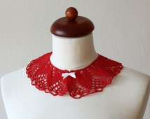 VINTAGE CROCHET COLLAR Handmade Red Retro Knit Crocheted Simple Czechoslovakia Made