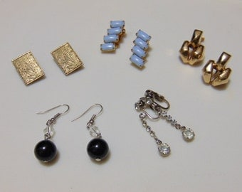Vintage Earring Assortment/ Art Deco Styles/ 5 Pairs/ Clips, Screwback, Pierced/ 60s era
