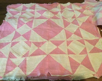 Vintage bubblegum pink cotton / Ivory Muslin quilt scrap pieces