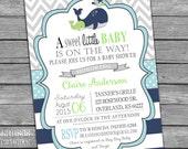Whale Baby Shower Invitation Boy Baby Shower Invite Aqua Lime Green Navy Stripes