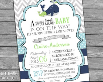 Whale Baby Shower Invitation Boy Baby Shower Invite Aqua Lime Green Navy Stripes