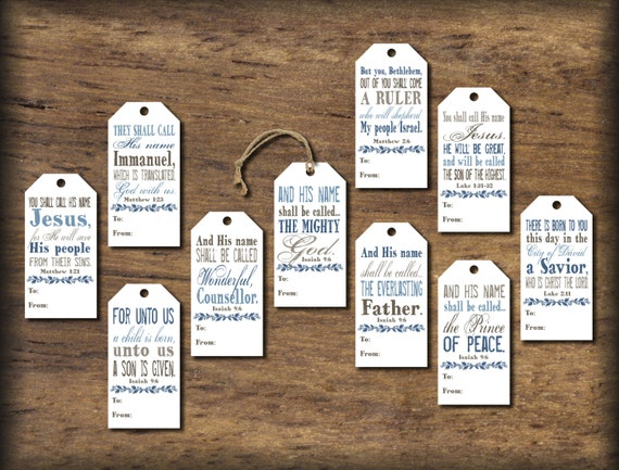 christmas gift tags  names of jesus  instant download