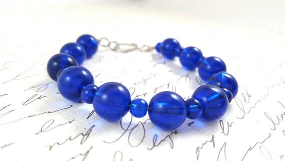 Cobalt Blue Glass Bracelet - Dark Blue Bracelet - Stacking Bracelet - Strand Bracelet - Blue Glass - Simple Bracelet - Beaded Bracelet
