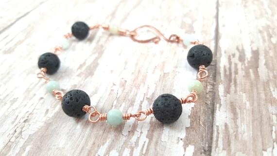 Lava Rock and Amazonite Bracelet - Copper Wire Wrapped Bracelet - Gemstone Bracelet - Natural Jewelry - Stacking Bracelet - Gypsy Bracelet