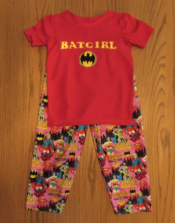 Batgirl pajamas,super hero pajamas,super girl pajamas,toddler super hero,wonder woman pajamas,super hero,toddler super girl