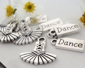 10 Ballet Dance charms,Dance word charm,Tutu charm