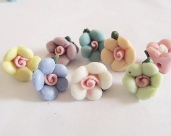 10 Clay Flower Beads