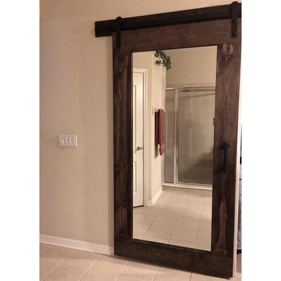 Reclaim rustic framed mirror sliding barn door by rustic for Mirrored barn door