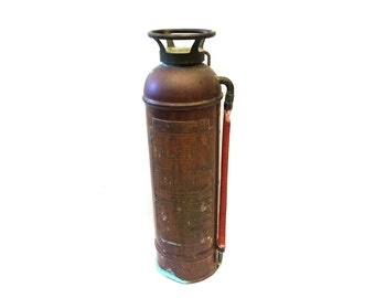 Copper Fire Extinguisher, American LaFrance Fire Engine Co. Elmira NY, Alert Fire Extinguisher, Elmira NY, Made in USA, New York Sign