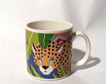 Vintage 1980s Hipster Jungle Leopard Art Mug, Amazing Graphics