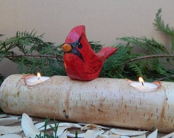 Wood Carved Cardinal On White Birch Log Candle Holder