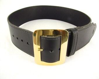 Kilt Belt Black with Brass Buckle Santa Belt Pirate Belt