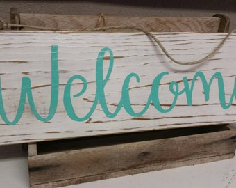 Shabby chic welcome upcycled sign, welcome sign, coastal decor, front door hanging