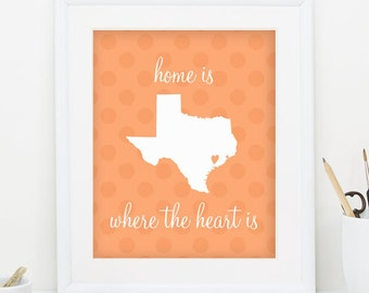 Texas Printable Texas Print State Digital Print Orange State Prints State Wall Print State Printables State Art Print INSTANT DOWNLOAD 0061