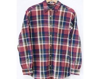 Vintage Plaid Shirt  (0002) Vintage plaid tops India Indian cotton shirt Indian plaid shirt