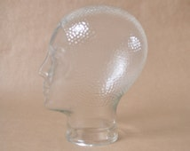 Vintage clear glass mannequin head - white blank glass wig display - photo prop - 1970s