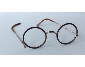 Vintage Antique Round Tortoise Shell Eye Glasses Round Frames German Made Lennon FDR Style Harry Potter Spectacles Black Brown Hipster