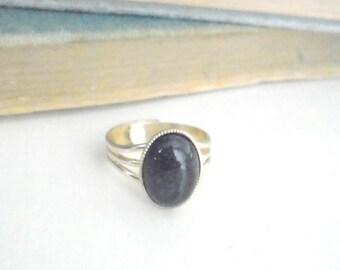 Black Onyx Ring, Semi-Precious Ring, Gemstone Jewelry, Adjustable