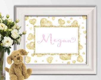 Personalized Large Name print Personalized nursery art Custom name printable Name sign Glitter Gold hearts Custom colors and sizes Canvas