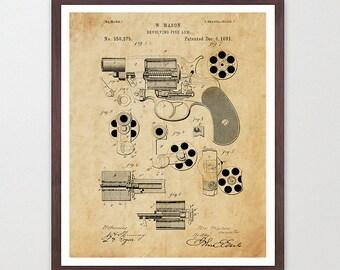 Revolver - Revolver Poster - Gun Patent - Revolver Patent - Gun Poster - Revolver Art  - Gun Wall Art - Hand Gun - Pistol - Gun Lover