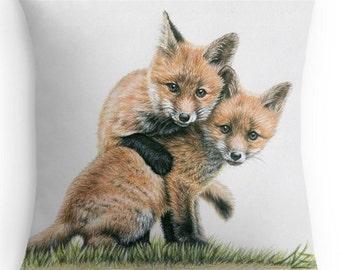 Fox Kids Pillow 40 x 40 cm - Fox Puppies, incl. filling