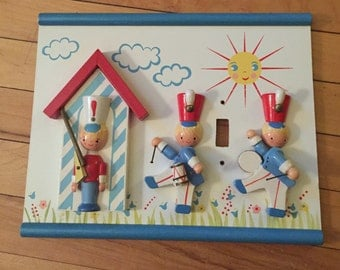 Vintage 1960's Wooden Irmi Large Lightswitch Switch Plate Cover Soldiers!