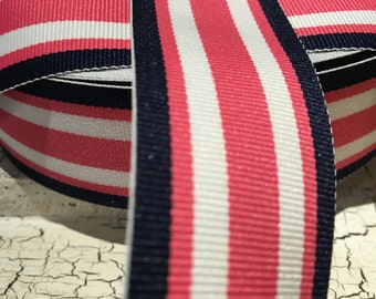 "3 YARDS 1.5"" PREPPY NAUTiCAL Navy Hot Pink and  White Stripe"
