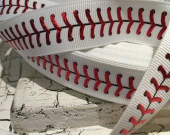 "7/8"" baseball softball red metallic grosgrain ribbon"