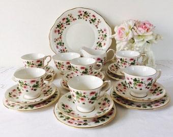 Queen Anne Floral Tea Set, 21 Pieces, Staffordshire, c1962.