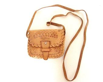80's Boho Leather Purse. Girl's Shoulder Bag.