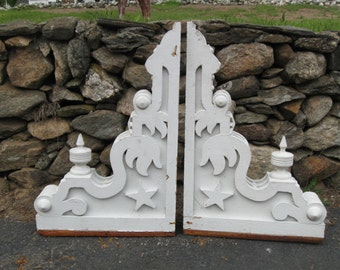 Amazing,Gothic Revival Period,Set of X-Large Architectural Salvage  Ornamental White Corbels...