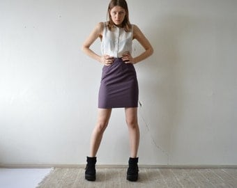 vintage purple mini pencil skirt wool BENETTON small size high waist mini skirt