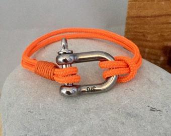 Neon sailing nautical shackle bracelet
