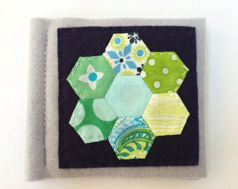 Grey and blue wool felt needle book with small green hexies