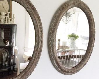 Large Oval Mirrors, Double Vanity Bathroom Mirror, French Shabby Chic, Vintage Style Mirrors, Large Wall Mirror, Custom Hand Painted