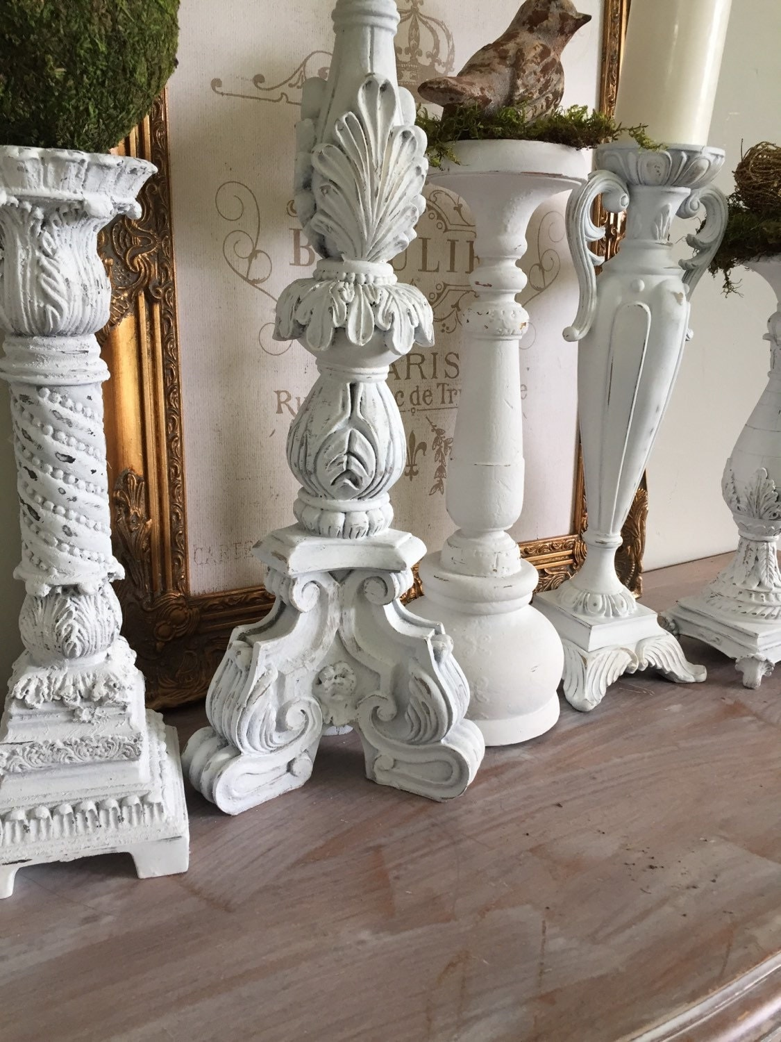 tall white candle holders french shabby chic by farmhousefare. Black Bedroom Furniture Sets. Home Design Ideas