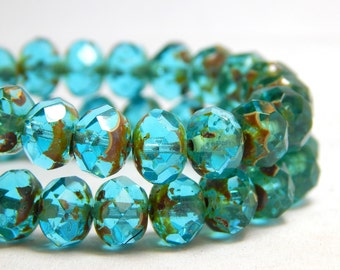 8x6mm Aquamarine Picasso Czech Beads, Blue Beads, Blue Beads, Aqua Beads, Glass Beads, Blue Rondelle Beads, Blue Faceted Beads, T-063C