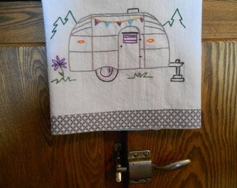 Vintage Airstream Trailer Hand Embroidered Towel
