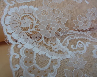 1yard Chantilly rose Lace Fabric in pure white for Bridal Gowns, Mantilla  Veils,snow white eyelash lace fabric