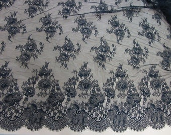 black Chantilly lace fabric sold by yard,rose Lace fabric, 115cm Eyelash lace for lace dress-LSM6606