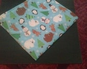 New Handmade Wintery/Holiday  Baby Changing Pad with Penguins, Polar Bears, Snowmen, Reindeer  etc. 22 1/2 x 20