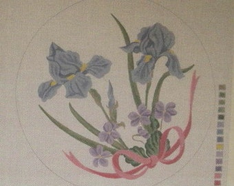 "Handpainted Needlepoint Canvas 18"" Lyn De Shong Design # 116 Floral Purple and Blue Iris & Violet Bouquet Circular Pillow  or Picture"